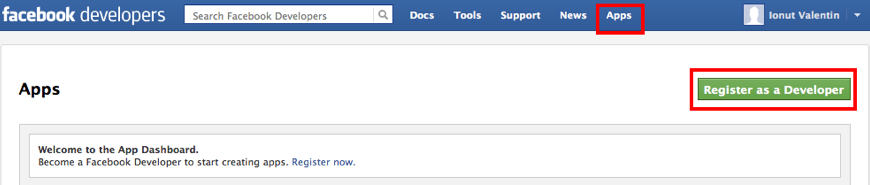 Facebook register as a developer