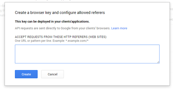 Google API Key creation