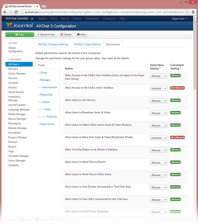 Joomla! backend permissions for AVChat