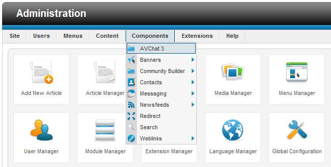 joomla 1.6 avchat3 admin menu