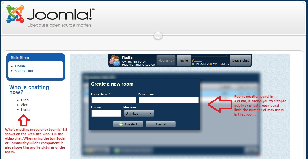 Who's online module in Joomla! 1.5 web site