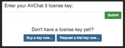 AVChat License key screen